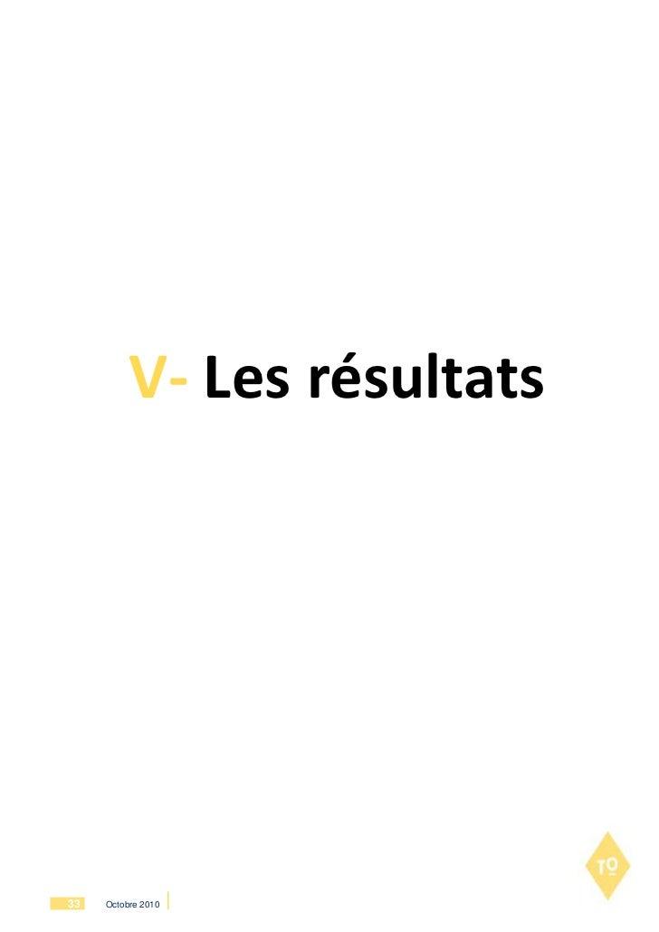 V- Les résultats33   Octobre 2010