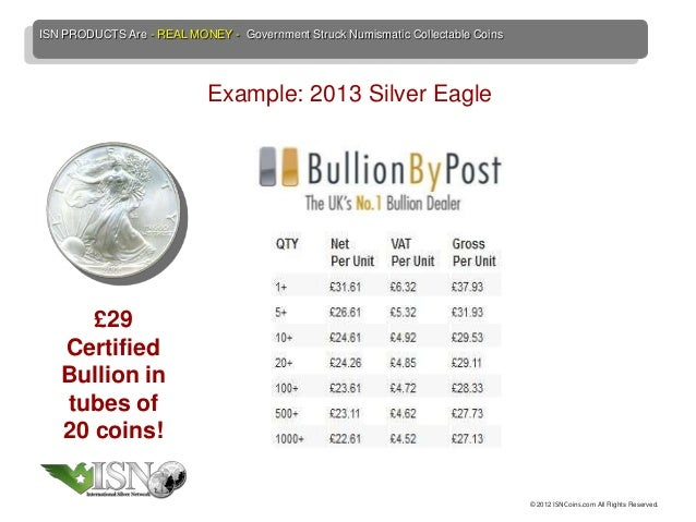 ISN PRODUCTS Are - REAL MONEY - Government Struck Numismatic Collectable Coins                            Example: 2013 Si...