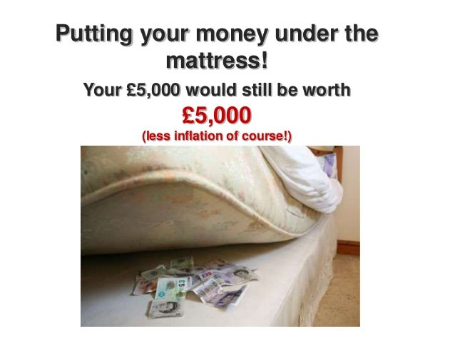 Putting your money under the          mattress!  Your £5,000 would still be worth                £5,000         (less infl...