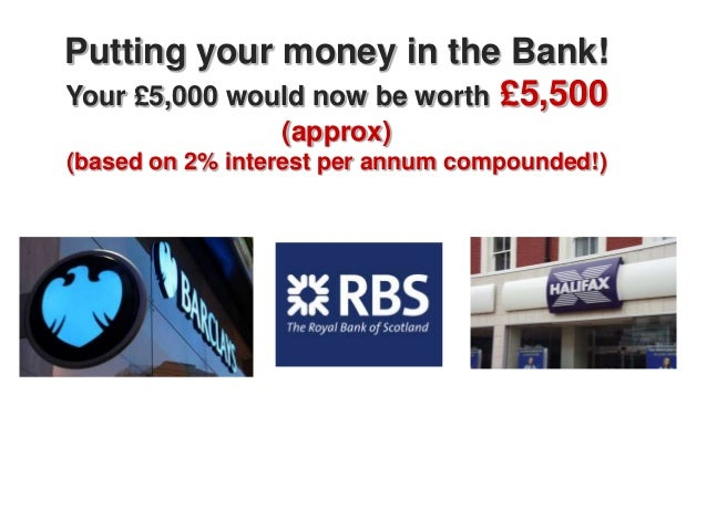 Putting your money in the Bank!Your £5,000 would now be worth £5,500                 (approx)(based on 2% interest per ann...