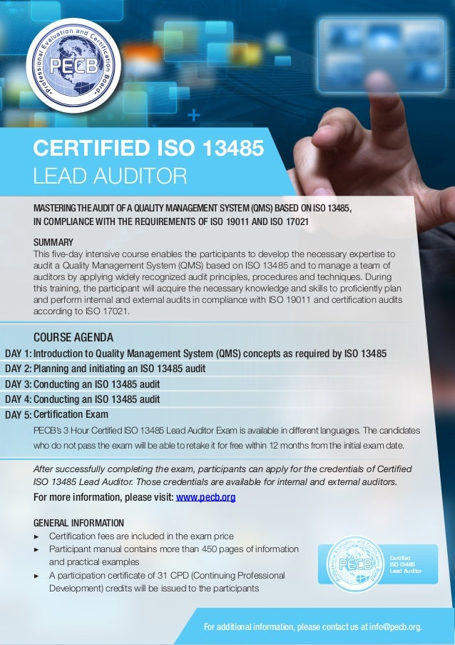 iso 13485 lead auditor one page brochure