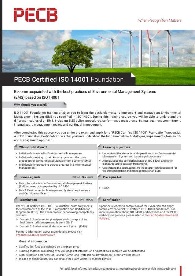 When Recognition Matters ISO 14001 Foundation training enables you to learn the basic elements to implement and manage an ...