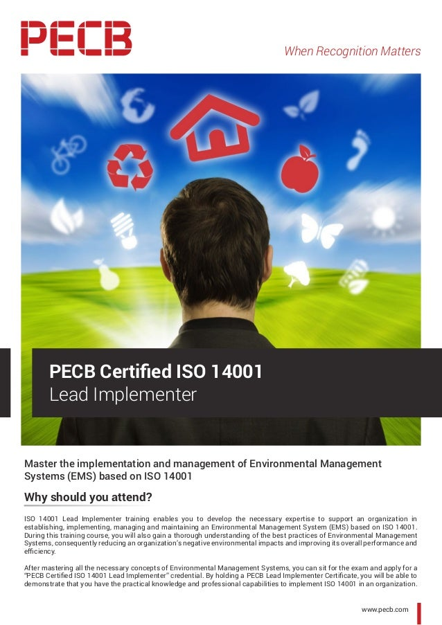 When Recognition Matters www.pecb.com Master the implementation and management of Environmental Management Systems (EMS) b...