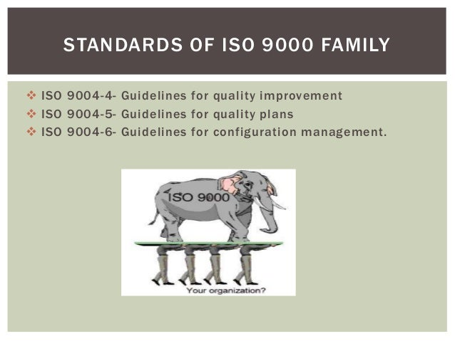  ISO 9004-4- Guidelines for quality improvement  ISO 9004-5- Guidelines for quality plans  ISO 9004-6- Guidelines for c...