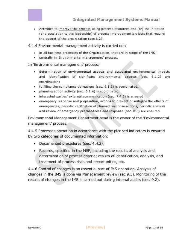 ... 13. Integrated Management Systems Manual ...