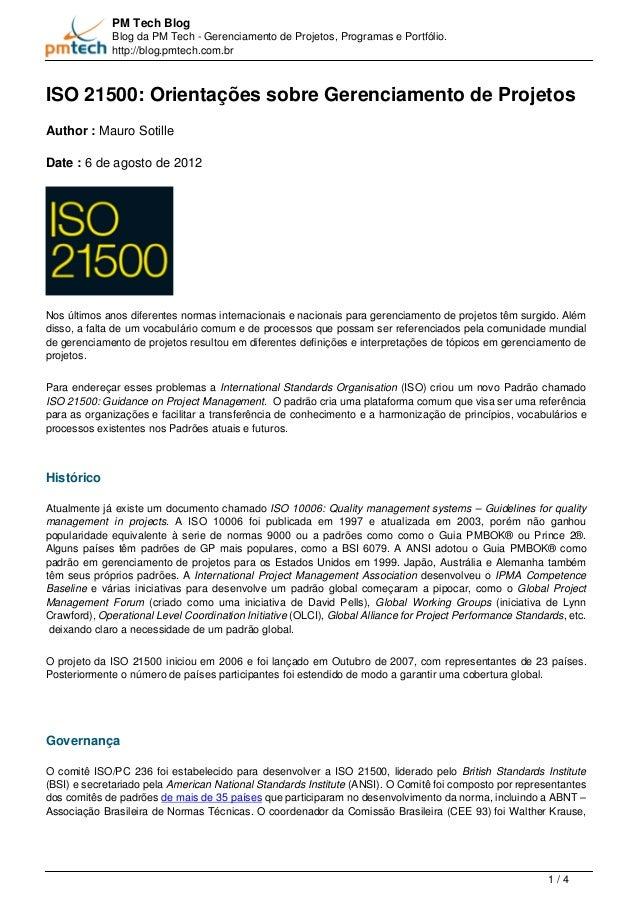 PM Tech Blog  Blog da PM Tech - Gerenciamento de Projetos, Programas e Portfólio.  http://blog.pmtech.com.br  ISO 21500: O...