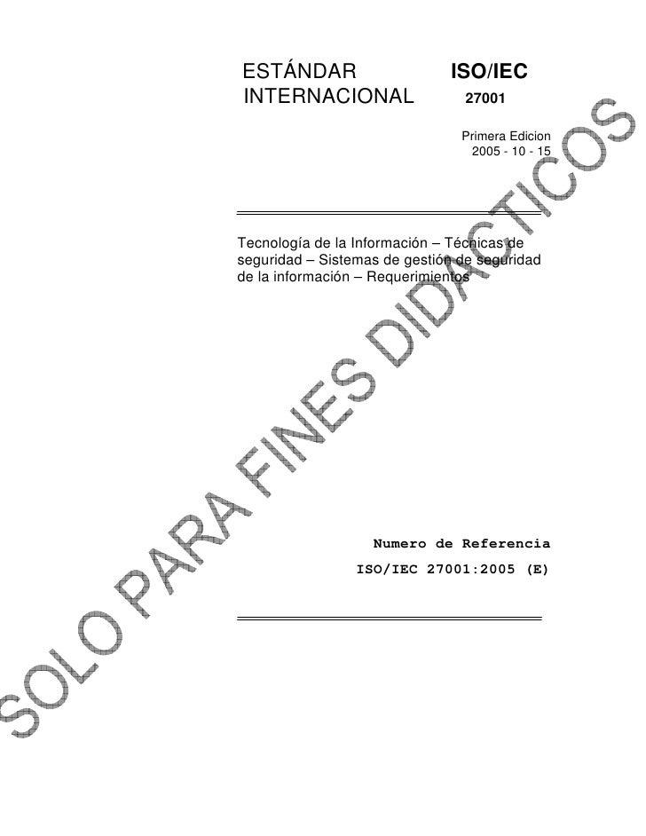 iso 27001 2005 espanol