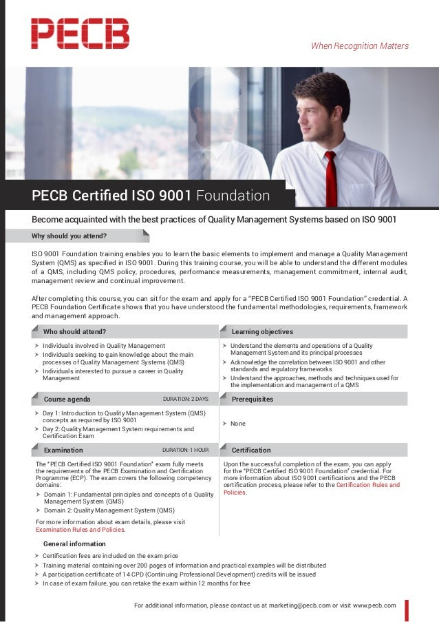 When Recognition Matters ISO 9001 Foundation training enables you to learn the basic elements to implement and manage a Qu...
