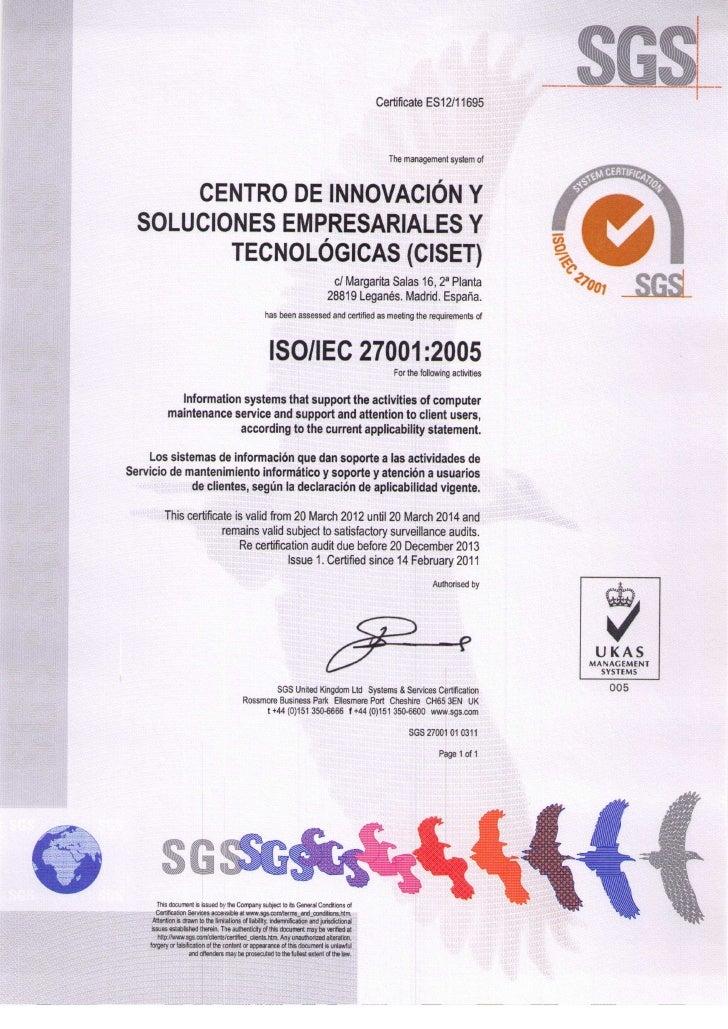 CISET - Certificacion ISO 27001