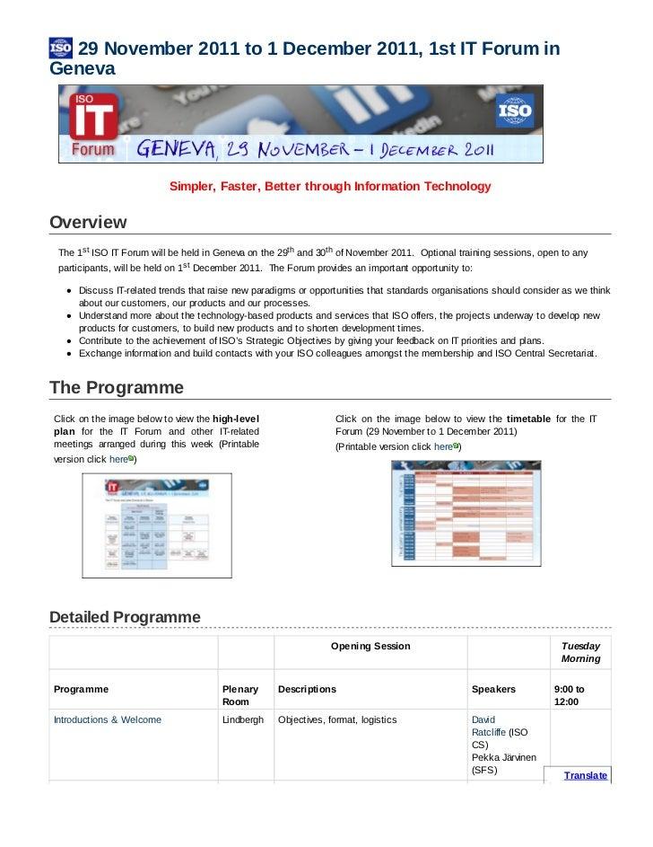29November2011to1December2011,1stITForuminGeneva                             Simpler,Faster,BetterthroughIn...