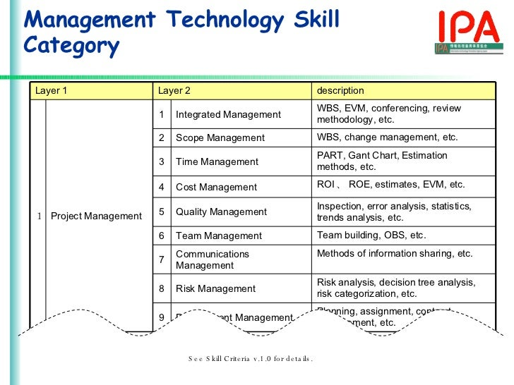 The Development of Skills Structured Standard for IT Industry