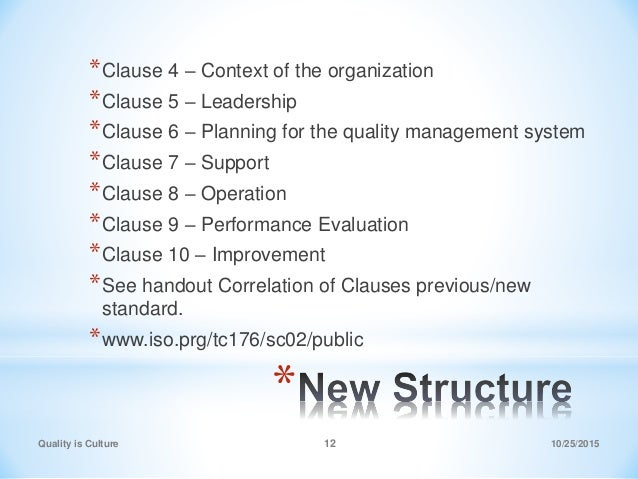 * *Clause 4 – Context of the organization *Clause 5 – Leadership *Clause 6 – Planning for the quality management system *C...
