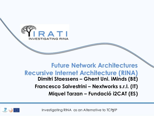 Investigating RINA as an Alternative to TCP/IP  Future Network Architectures Recursive Internet Architecture (RINA)  Dimit...