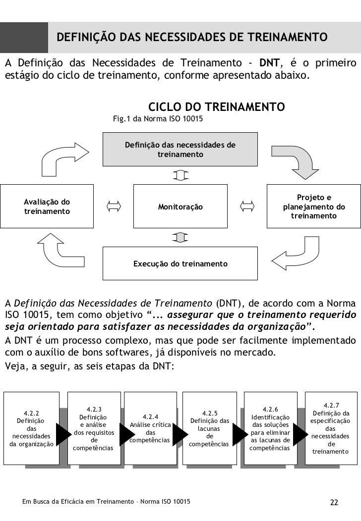 """<ul><li>A  Definição das Necessidades de Treinamento  (DNT), de acordo com a Norma ISO 10015, tem como objetivo  """"...  ass..."""