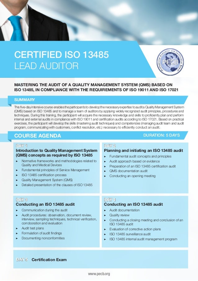iso 13485 lead auditor four page brochure