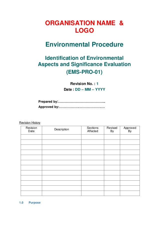 Iso 14001 2015 aspects identification procedure for Environmental aspects register template