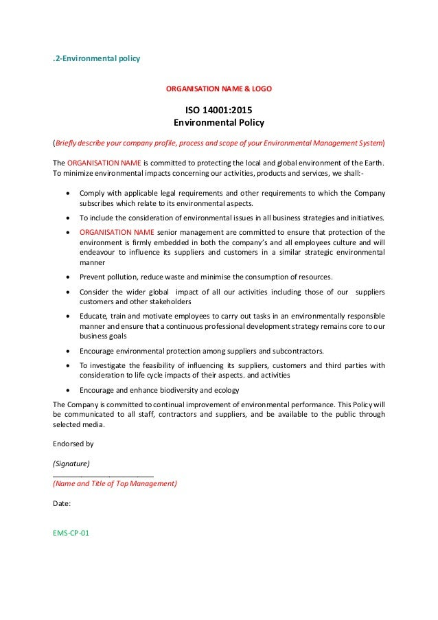 ISO 14001 2015 policy statement example