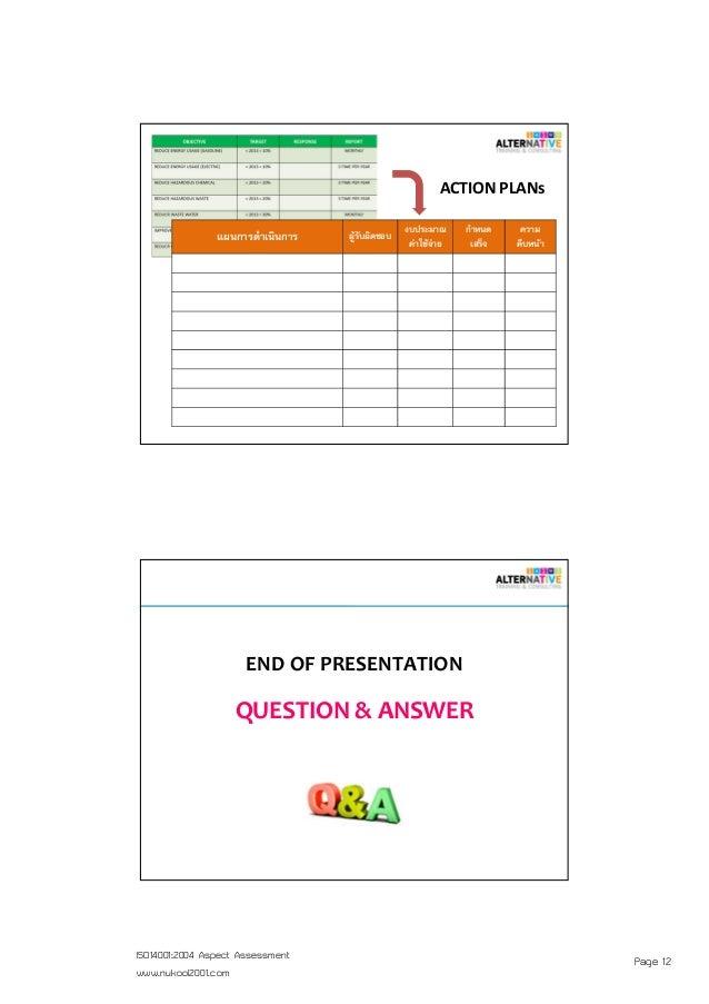 Page 12ISO14001:2004 Aspect Assessment www.nukool2001.com แผนการดําเนินการ ผู้รับผิดชอบ งบประมาณ ค่าใช้จ่าย กําหนด เสร็จ ค...
