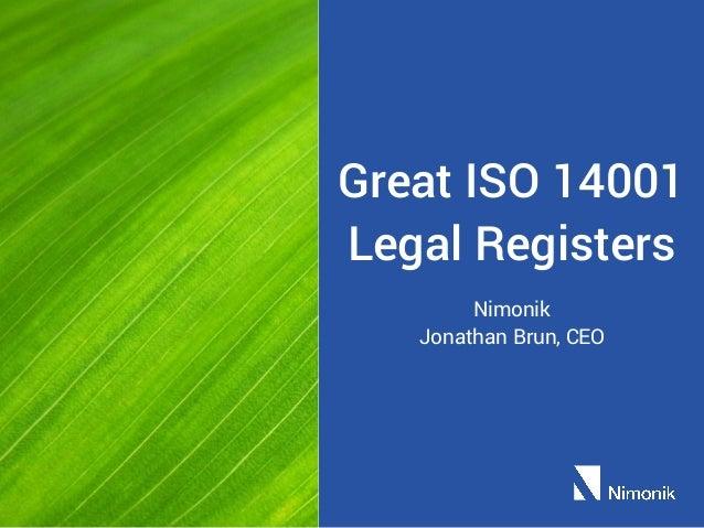 Great ISO 14001 Legal Registers Nimonik Jonathan Brun, CEO