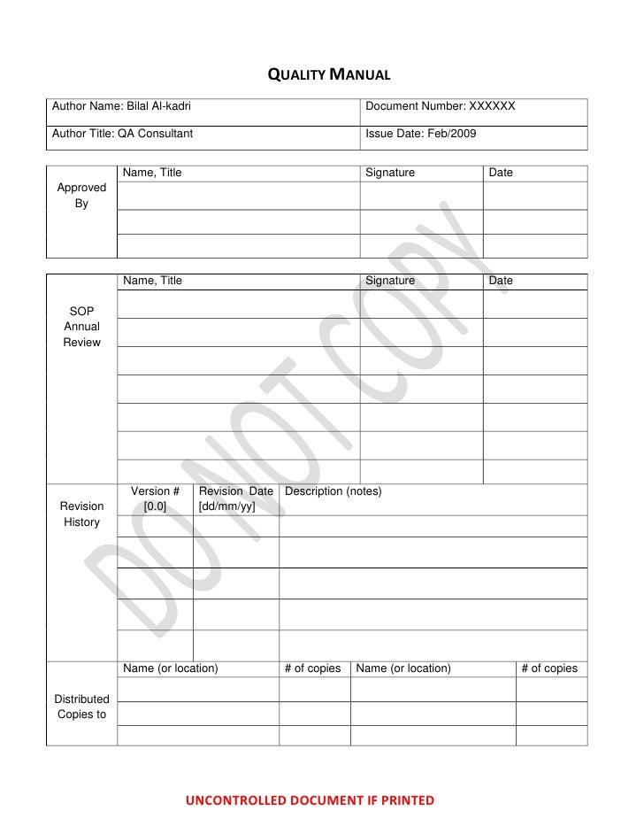 QUALITY MANUALAuthor Name: Bilal Al-kadri                                 Document Number: XXXXXXAuthor Title: QA Consulta...