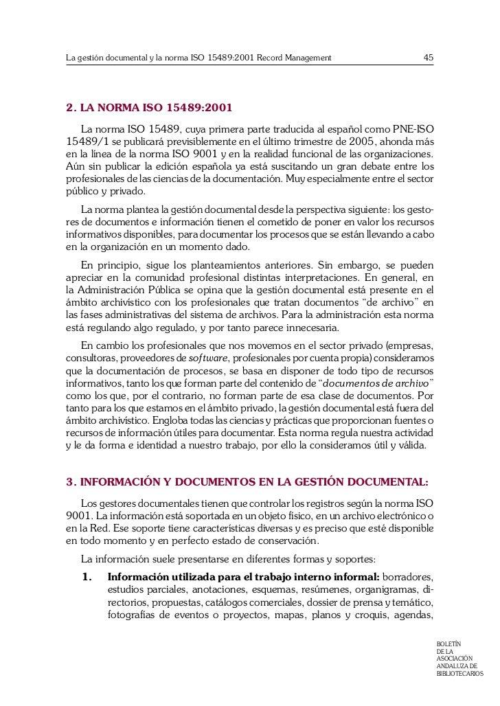 La gestión documental y la norma ISO 15489:2001 Record Management Slide 3