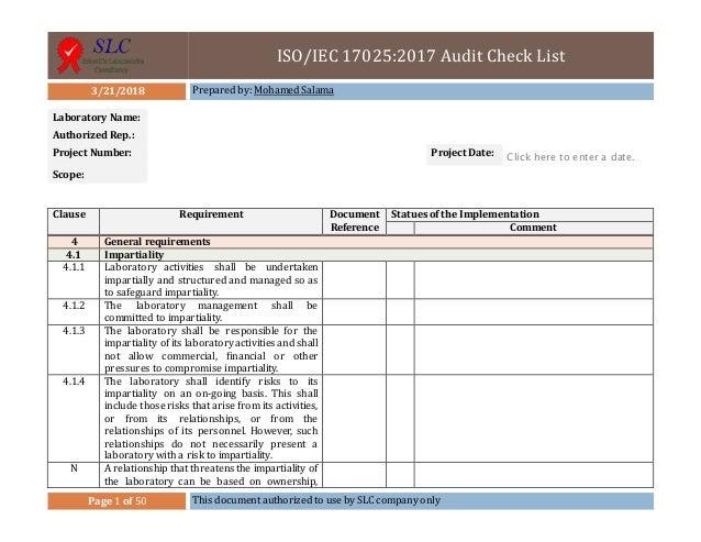 iso iec 17025 2017 check list