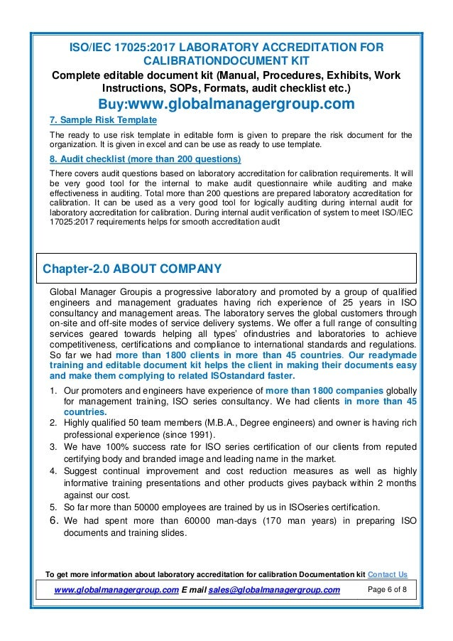 Document Kit Of Iso Iec 17025 2017 By Global Manager Group