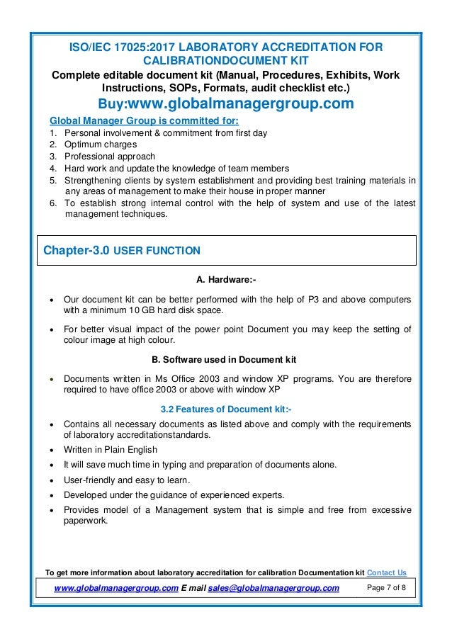 Document kit of ISO/IEC 17025:2017 by Global Manager Group