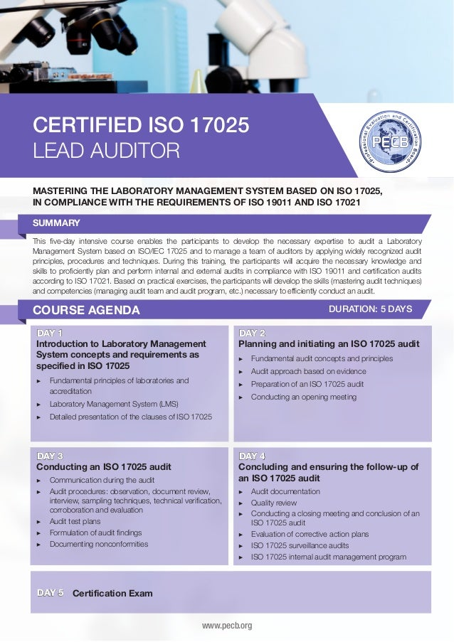 CERTIFIED ISO 17025 LEAD AUDITOR MASTERING THE LABORATORY MANAGEMENT SYSTEM BASED ON ISO 17025, IN COMPLIANCE WITH THE REQ...