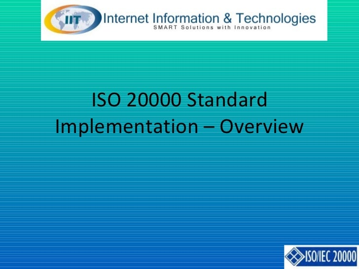 ISO 20000 Standard Implementation – Overview