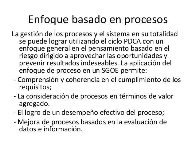 Enfoque basado en procesos La gestión de los procesos y el sistema en su totalidad se puede lograr utilizando el ciclo PDC...