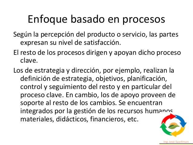 Enfoque basado en procesos Según la percepción del producto o servicio, las partes expresan su nivel de satisfacción. El r...
