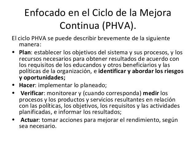Enfocado en el Ciclo de la Mejora Continua (PHVA). El ciclo PHVA se puede describir brevemente de la siguiente manera: • P...