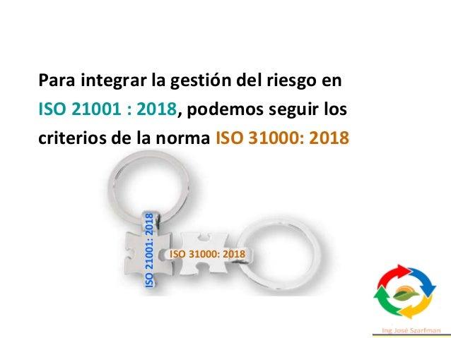 Para integrar la gestión del riesgo en ISO 21001 : 2018, podemos seguir los criterios de la norma ISO 31000: 2018 ISO 3100...