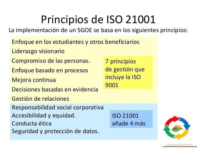 Principios de ISO 21001 Enfoque en los estudiantes y otros beneficiarios Liderazgo visionario Compromiso de las personas. ...