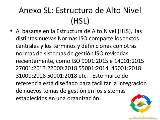 Anexo SL: Estructura de Alto Nivel (HSL) • Cláusula 4 - Contexto de la organización La organización determinará las cuesti...