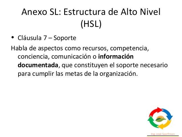 Anexo SL: Estructura de Alto Nivel (HSL) • Cláusula 9 - Evaluación del desempeño Habla de seguimiento, medición, análisis ...