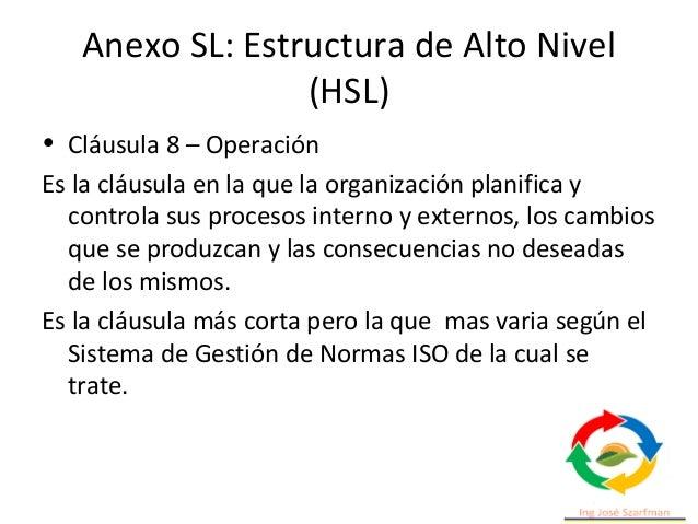 Anexo SL: Estructura de Alto Nivel (HSL) • Cláusula 10 – Mejora Enfatiza la importancia de realizar acciones de mejora a l...