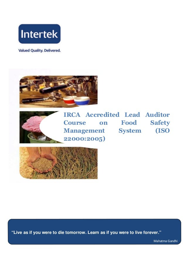 Iso 22000 food safety management system lead auditor