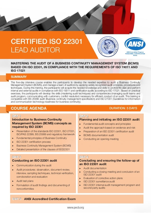 CERTIFIED ISO 22301 LEAD AUDITOR  ANSI Accredited Program PERSONNEL CERTIFICATION #1003  MASTERING THE AUDIT OF A BUSINESS...
