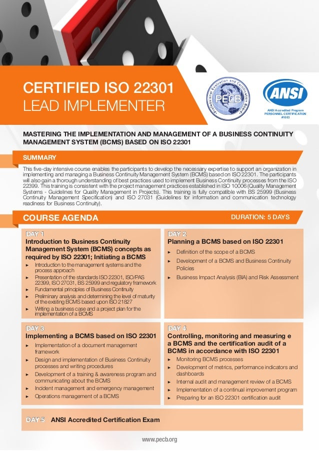 CERTIFIED ISO 22301 LEAD IMPLEMENTER  ANSI Accredited Program PERSONNEL CERTIFICATION #1003  MASTERING THE IMPLEMENTATION ...