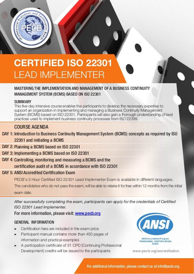 ISO 22301 Lead Implementer - One Page Brochure