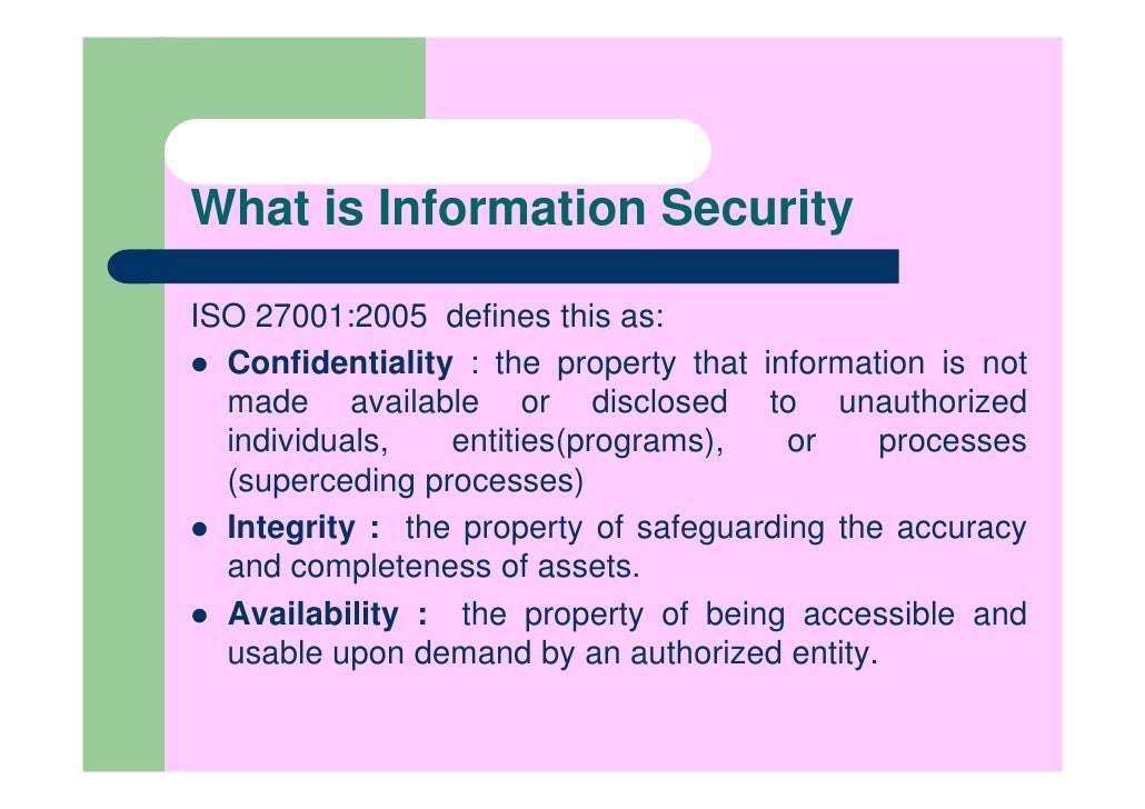 information security management understanding iso 17799 It governance, information trust, and risk management it security and risk management: iso 17799 madina nurguzhina spring 2007.