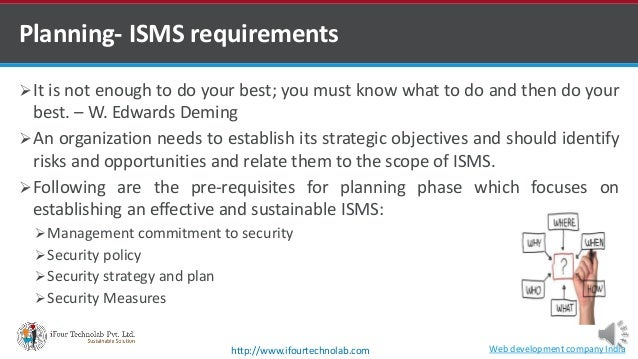 Planning- ISMS requirements It is not enough to do your best; you must know what to do and then do your best. – W. Edward...
