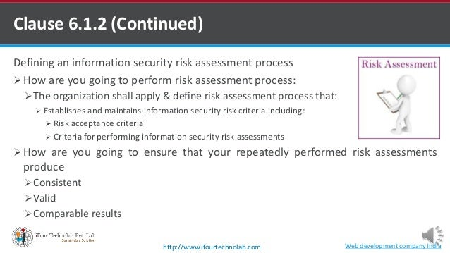 Clause 6.1.2 (Continued) Defining an information security risk assessment process  How are you going to perform risk asse...