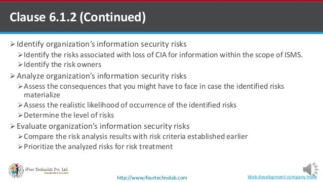  Identify organization's information security risks Identify the risks associated with loss of CIA for information withi...