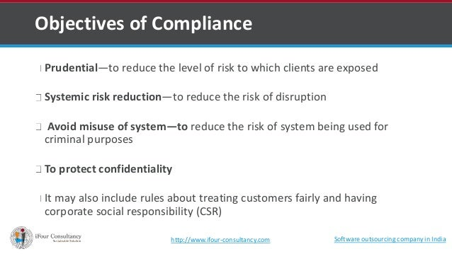 Objectives of Compliance  Prudential—to reduce the level of risk to which clients are exposed  Systemic risk reduction—to ...