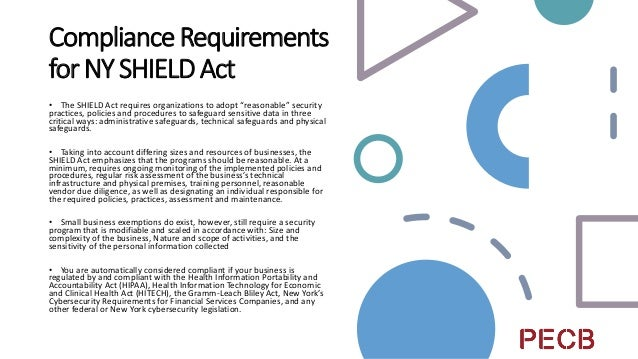 """""""Gotchas""""forNY SHIELDAct • Similar to the CCPA and the GDPR, the SHIELD Act expands liability to any organization that col..."""