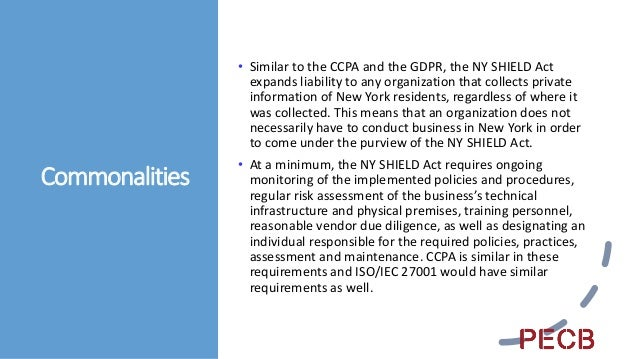 Differences • Whereas CCPA and the NY SHIELD Act require compliance from the entities to which they apply, ISO/IEC 27001 i...