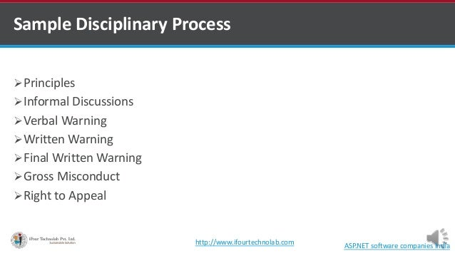 Sample Disciplinary Process Principles Informal Discussions Verbal Warning Written Warning Final Written Warning Gro...
